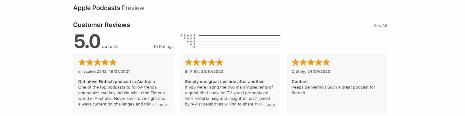 Fintech Chatter Podcast reviews