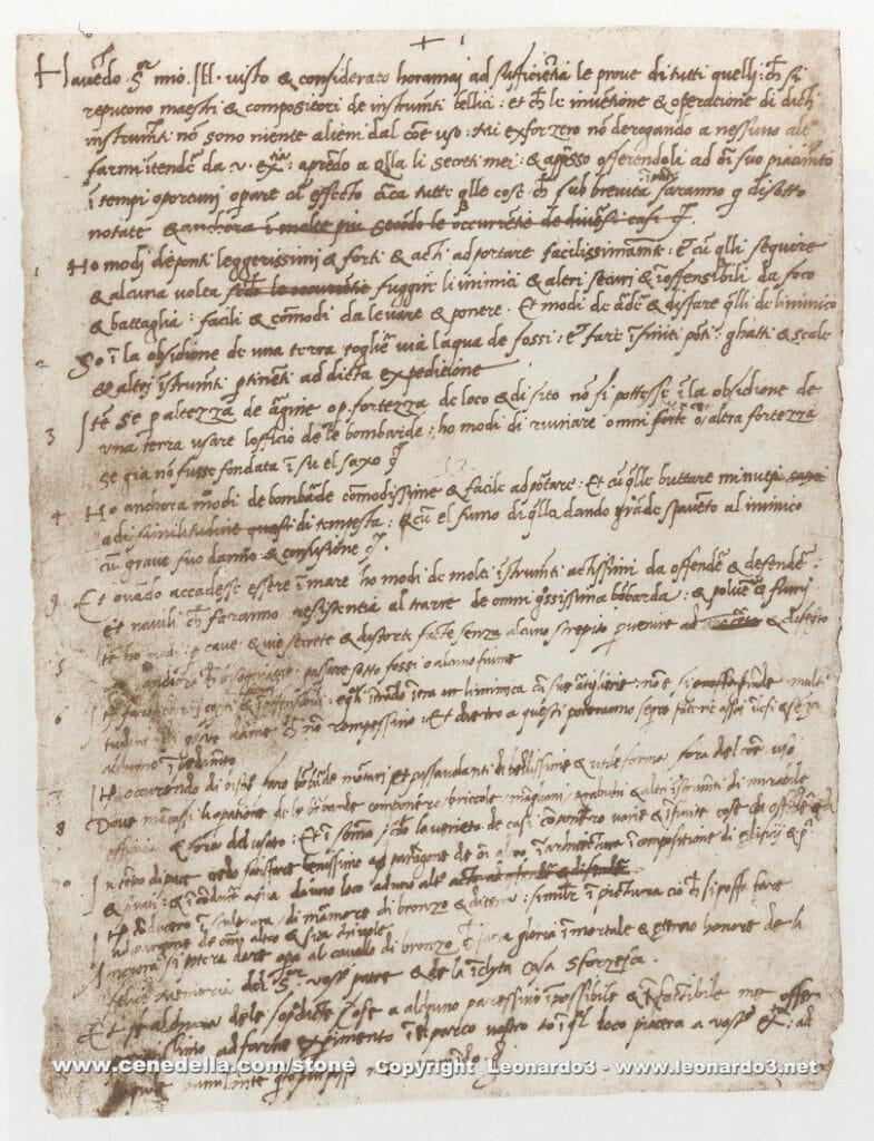 Leonardo Da Vinci's resume in 1498